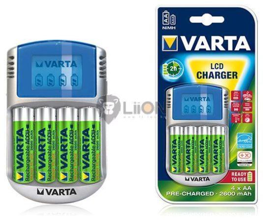 VARTA LCD Charger + 4db 2600AA akku