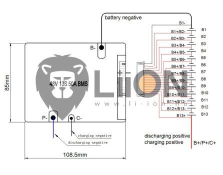 BMS - e-bike 13S 48V 50A védelmi elektronika balancerrel