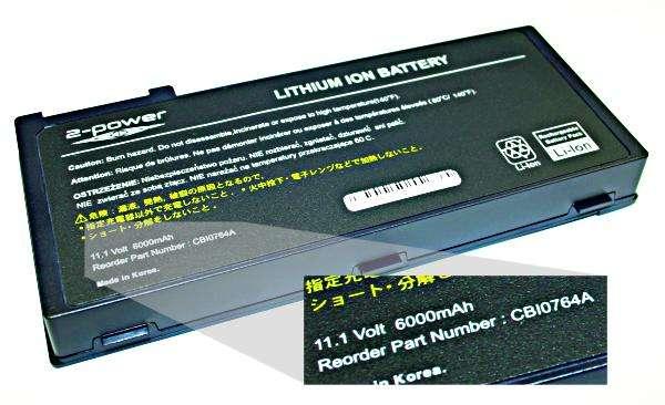 laptop akkumulátor címkéje